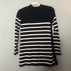 Zara Knit Navy Blue Striped Sweater Size Small
